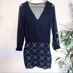 Zara NWT Blue Beaded Long Sleeve Button Down Dress